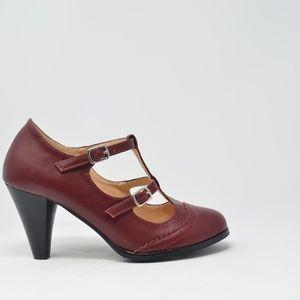 🛍 NEW Burgundy Double-Strap Mary Jane Pump Women